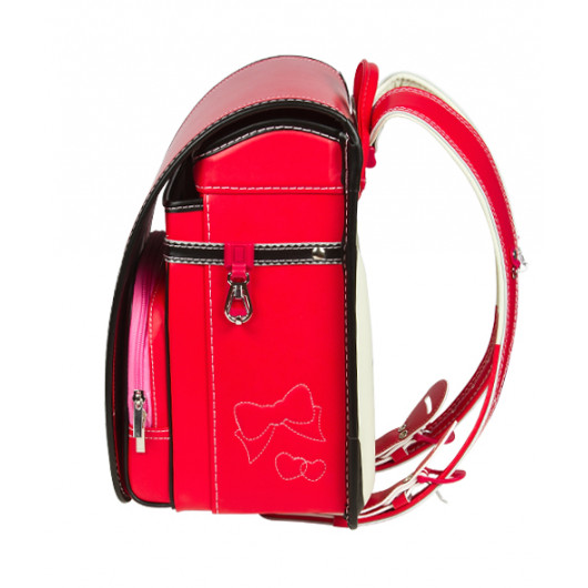 Школьный ранец с ортопедической спинкой Randoseru Hikari Красный лицевой замок (арт CL024)