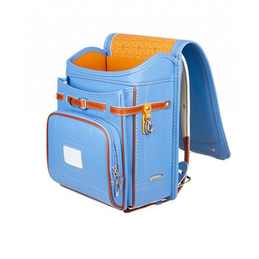 Школьный ранец с ортопедической спинкой Randoseru Hikari Голубой лицевой замок (арт CL025)