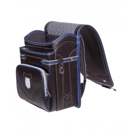Школьный ранец с ортопедической спинкой Randoseru Hikari Черный с синим кантом(арт CL005)